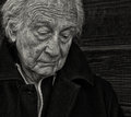 Sad senior man outdoor portrait of a with sadness Royalty Free Stock Photography