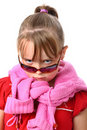Sad small girl with sunglasses isolated on white Royalty Free Stock Photo