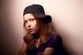 Sad teen girl depressed in cap Stock Photo