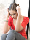 Sad teenage girl bright indoors picture of calm Stock Image