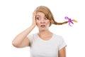 Sad teenage girl in windblown braid hair Royalty Free Stock Photo
