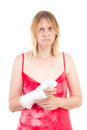 Sad woman with bandaged hand caucasian Stock Photography