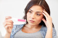 Sad woman looking at home pregnancy test Royalty Free Stock Photo