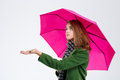 Sad woman with umbrella Royalty Free Stock Photo