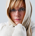 Sad woman in winter is cold, portrait Royalty Free Stock Photography