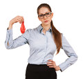 Sad young business woman holding deflated balloon Royalty Free Stock Image