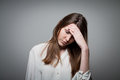 Sad young woman expressions feelings moods sorrow Royalty Free Stock Photography
