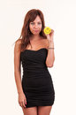 Sad young woman holding object with happy smiley funny concept Royalty Free Stock Images
