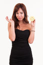 Sad young woman holding object with happy smiley funny concept Royalty Free Stock Photography
