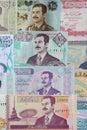 Saddam hussein on the iraqi paper money iraq circa unknown banknotes Royalty Free Stock Photos