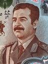 Saddam hussein portrait on dinars iraq banknote macro money closeup Royalty Free Stock Images