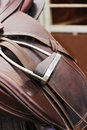 Saddle horse leather close up detail Royalty Free Stock Image
