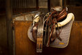 Horse riding Tack in stable Royalty Free Stock Photo