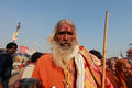 A sadhu come to take holy bath at kumbhmela looks as he kumbh mela on february in allahabad india kumbh mela is considered as the Royalty Free Stock Photo