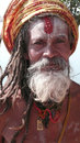 Sadhu india rishikesh portrait of an old man in traditional indian clothing the is solely dedicated to achieving the fourth and Royalty Free Stock Photography