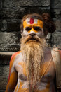Sadhu man, blessing in Pashupatinath Temple Royalty Free Stock Photography