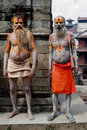 Sadhu men, blessing in Pashupatinath Temple Royalty Free Stock Images