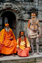 Sadhu men, blessing in Pashupatinath Temple Stock Photos