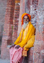 Sadhu waiting alms pashupatinath kathmandu nepal Royalty Free Stock Photography