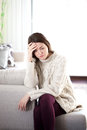 Sadness young woman under emotional stress Stock Images