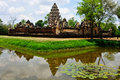 Sadok kok thom stone castle khmer art with reflection pond thailand rocks at ancient city in religious buildings Royalty Free Stock Images