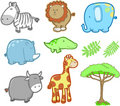 Safari Animal Vector Set Stock Images