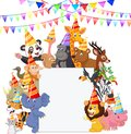 Safari Animals cartoon Wearing Party Hats