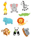 Safari animals collection of cute little cartoon Stock Images
