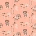 Safari animals kid seamless pattern vector.