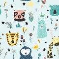 Safari baby animals seamless funny pattern. Vector kid print. Hand drawn doodle illustrations in scandinavian style. Blue backgrou