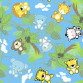 Safari baby animals seamless pattern