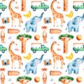 Safari collection with cute giraffe, elephant, meerkat