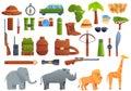 Safari equipment icons set, cartoon style