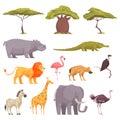 Safari Flora Fauna  Set Royalty Free Stock Photo