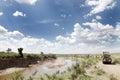 Safari game drive along mara river kenya masai october on van with open roof in masai national reserve national Stock Photos