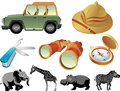 Safari outdoor adventure themed objects isolated in white background Royalty Free Stock Photos