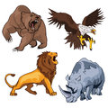 Safari terrifying feline lion with tail and roaring grizzly horribilis bear raising claw, zoo ferocious and dangerous