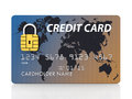 Safe banking generic credit card with security chip as padlock on white Royalty Free Stock Images