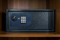 Safe box in hotel room Royalty Free Stock Photo
