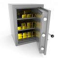 Safe with gold bars. Royalty Free Stock Images
