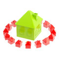 Safe green house surrounded isolated Stock Photo