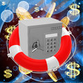 Safe in life buoy Royalty Free Stock Photo