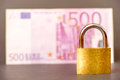 Safe money padlock infront of an out of focus euro note for your safety security and insurance concepts copy space to the left Royalty Free Stock Photo