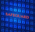 Safeguard safety represents privacy key and protected locked showing forbidden encryption sign Royalty Free Stock Images