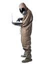 Safer internet browsing a man wearing an nbc suite nuclear biological chemical Royalty Free Stock Images