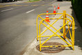 Safety barrier at manhole Royalty Free Stock Images