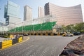 Safety barriers installed along for racing macau g china november streets before the upcoming grand prix in stages formula fia Stock Image