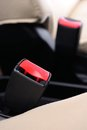 Safety belt closeup automobile seat Stock Photo