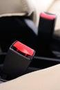 Safety belt closeup automobile seat Stock Photo