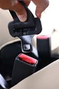 Safety belt closeup automobile seat Stock Images